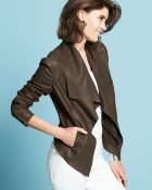 Neiman Marcus Leather Drape Front Jacket - Lyst
