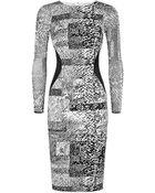 Karen Millen Stretch Texture Print Dress - Lyst