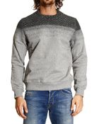 Frankie Morello Sweater Fleece Crewneck Details Wool Needle-Punched - Lyst