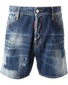 DSquared² Washed Denim Shorts - Lyst