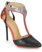 L.a.m.b. Serena Leather T-Strap Pumps/Black & White - Lyst