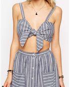 Asos Stripe Tie Front Bralet - Lyst
