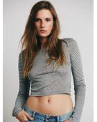 Intimately Womens Stripe Crewneck Crop - Lyst