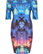 River Island Blue Tropical Print Bardot Dress - Lyst