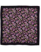 Oscar de la Renta Flower-Painted Square Silk Scarf - Lyst