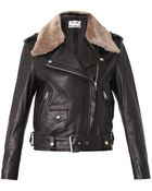 Acne Studios Mape Shearling-trimmed Leather Jacket - Lyst