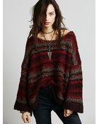 Free People Wool Slouchy Stripe Pullover - Lyst