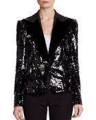 Dolce & Gabbana Velvetlapel Sequin Blazer - Lyst