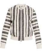 3.1 Phillip Lim Leather Stripe Bomber Jacket - Lyst