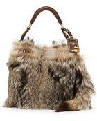 Prada Fox Fur Hobo Bag - Lyst