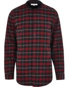 River Island Red Check Bomber Long Sleeve Shirt - Lyst