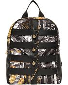 Versus  Safety Pin Nylon & Leather Backpack - Lyst