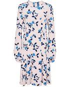 Oscar de la Renta Floral Silk Pleated Dress - Lyst