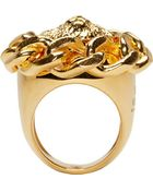 Versus  Gold Chained Lion Ring - Lyst