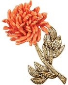 Oscar de la Renta Goldtone Crystal and Resin Brooch - Lyst