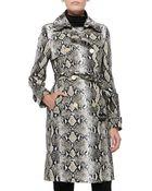 Diane von Furstenberg Belted Python Trench Coat - Lyst