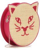 Charlotte Olympia Pussycat Raffia And Leather Shoulder Bag - Lyst