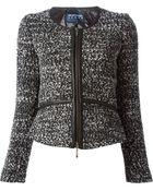 Emporio Armani Zipped Boucle Jacket - Lyst