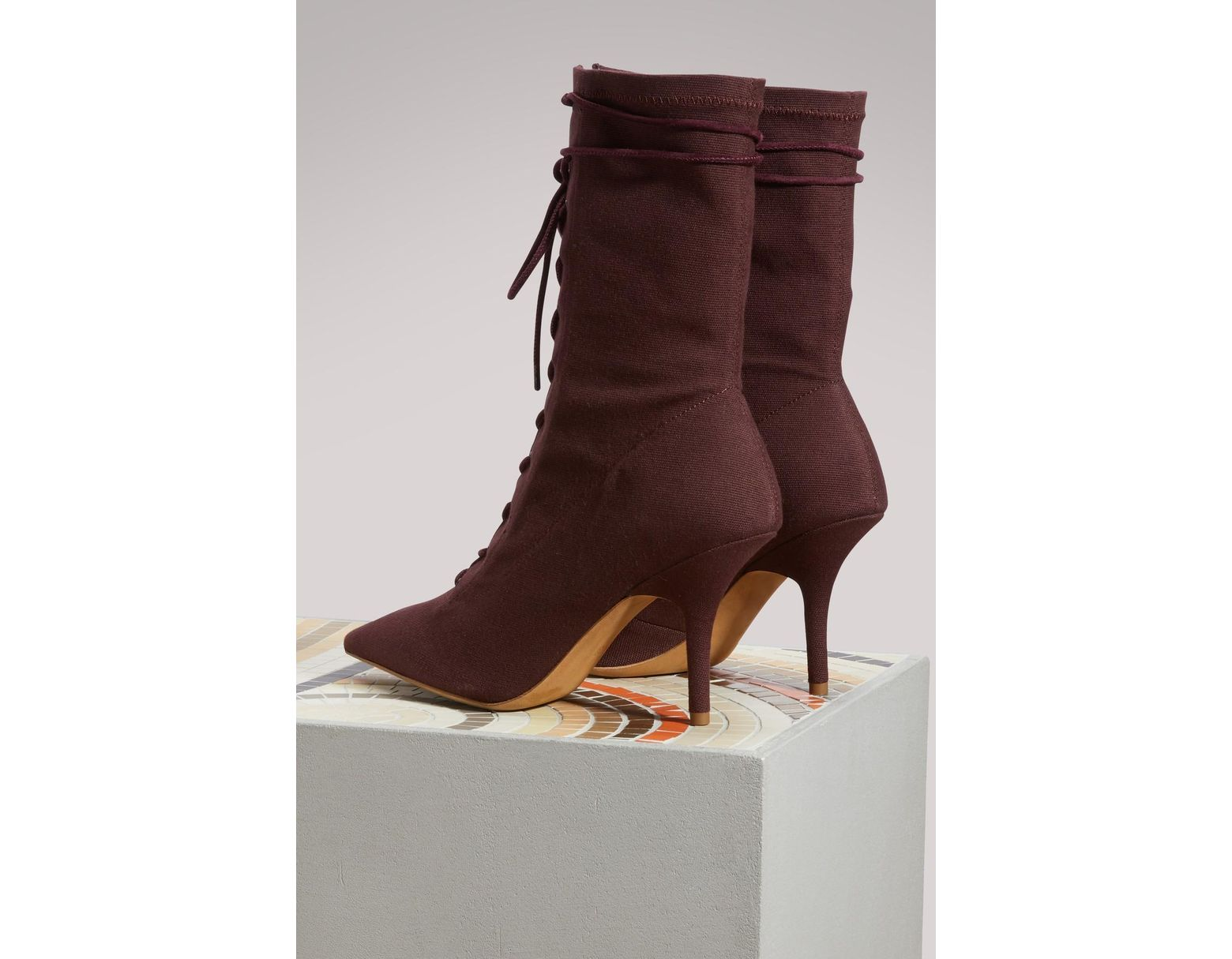 325a304f5 Lyst - Yeezy Canvas Lace Up Boots in Brown