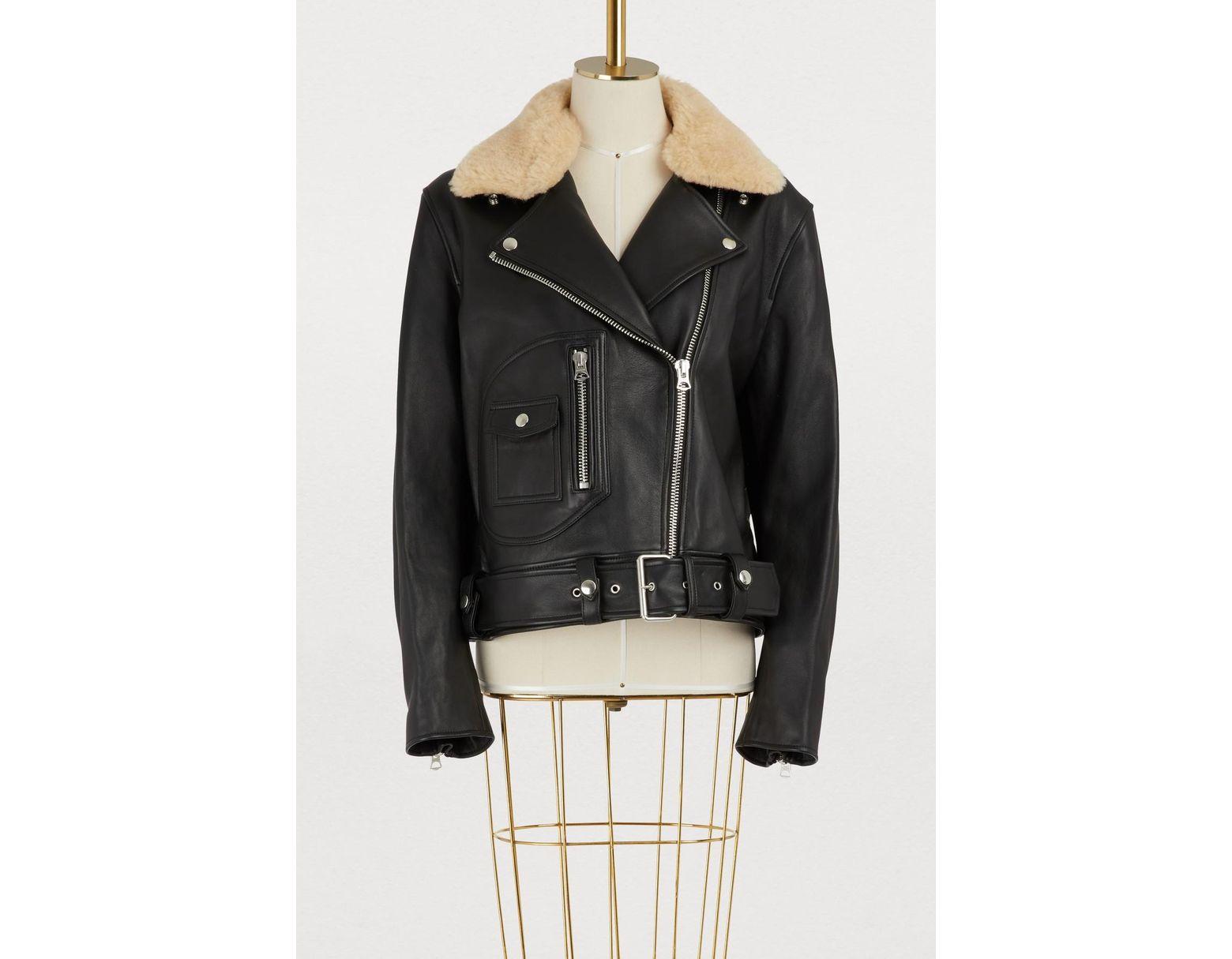 d92ac98b0 Women's Black Leather Biker Jacket With Fur Collar