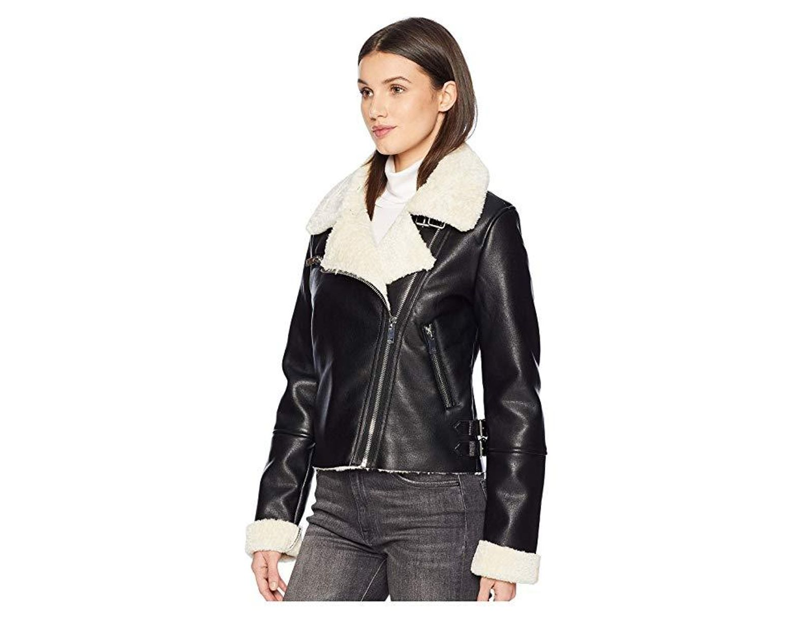 518954f9a2 Blank NYC Faux Sherpa Jacket In Silent Night (silent Night) Coat in Black -  Save 34% - Lyst