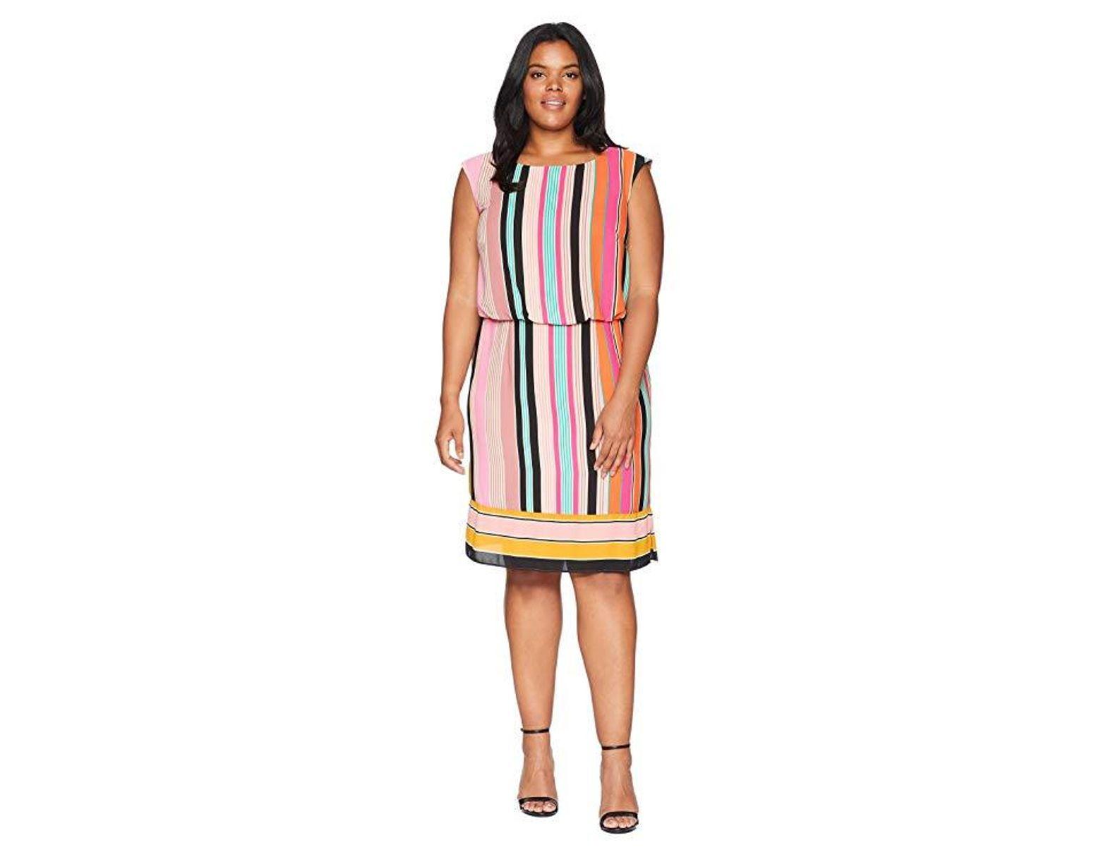 604348b5ee8 Adrianna Papell Plus Size Fiesta Stripe Blouson Dress (pink Multi) Dress in  Pink - Save 13% - Lyst
