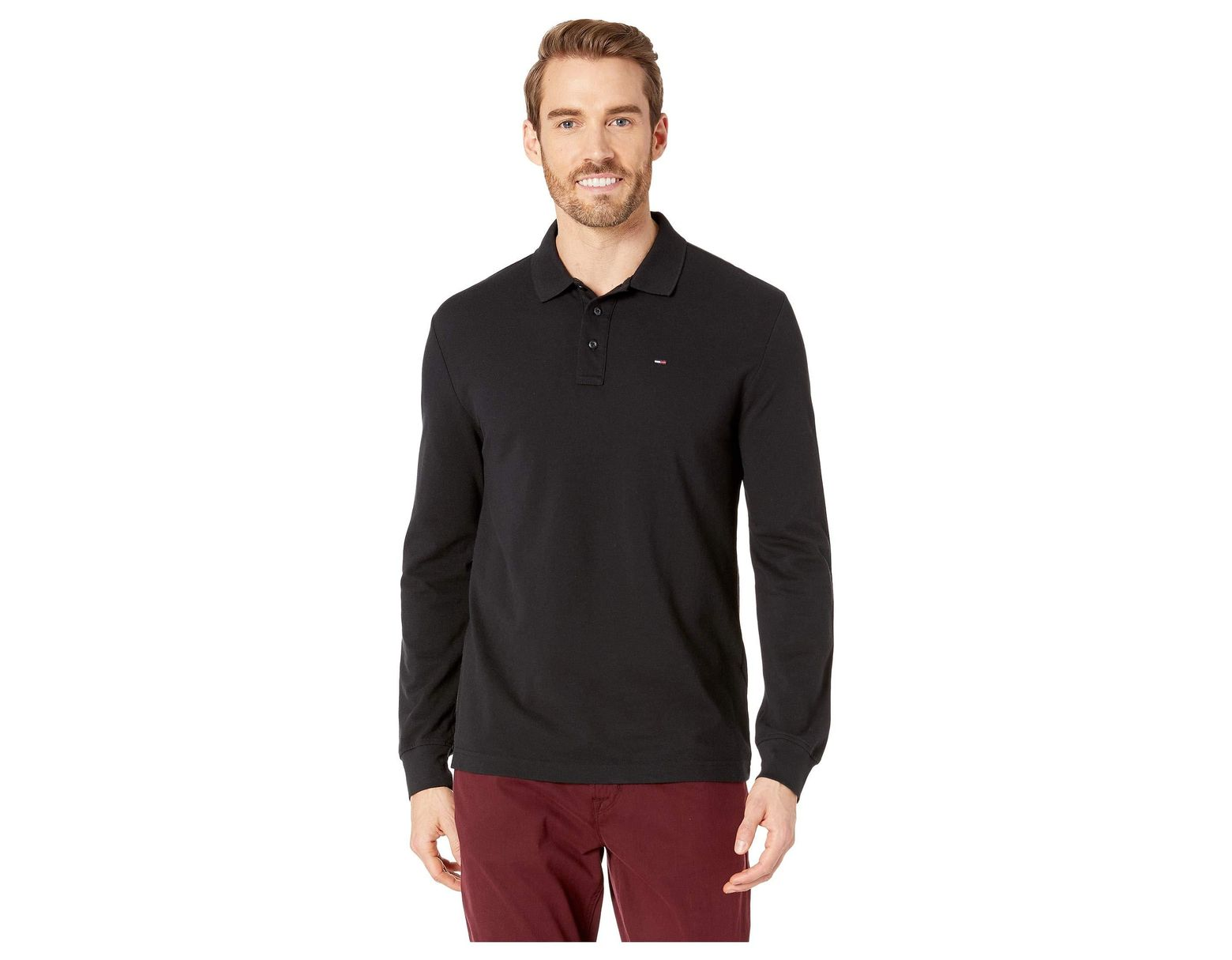 c8adb2c6d1784f Lyst - Tommy Hilfiger Essential Long Sleeve Polo in Black for Men - Save 23%