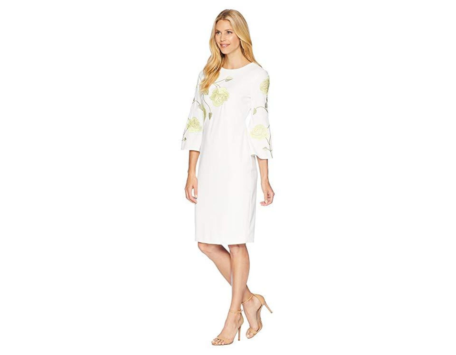 e6fcd356d819 Tahari Long Sleeve Floral Embroidered Crepe Sheath Dress  (white/citron/green) Dress in White - Save 51% - Lyst