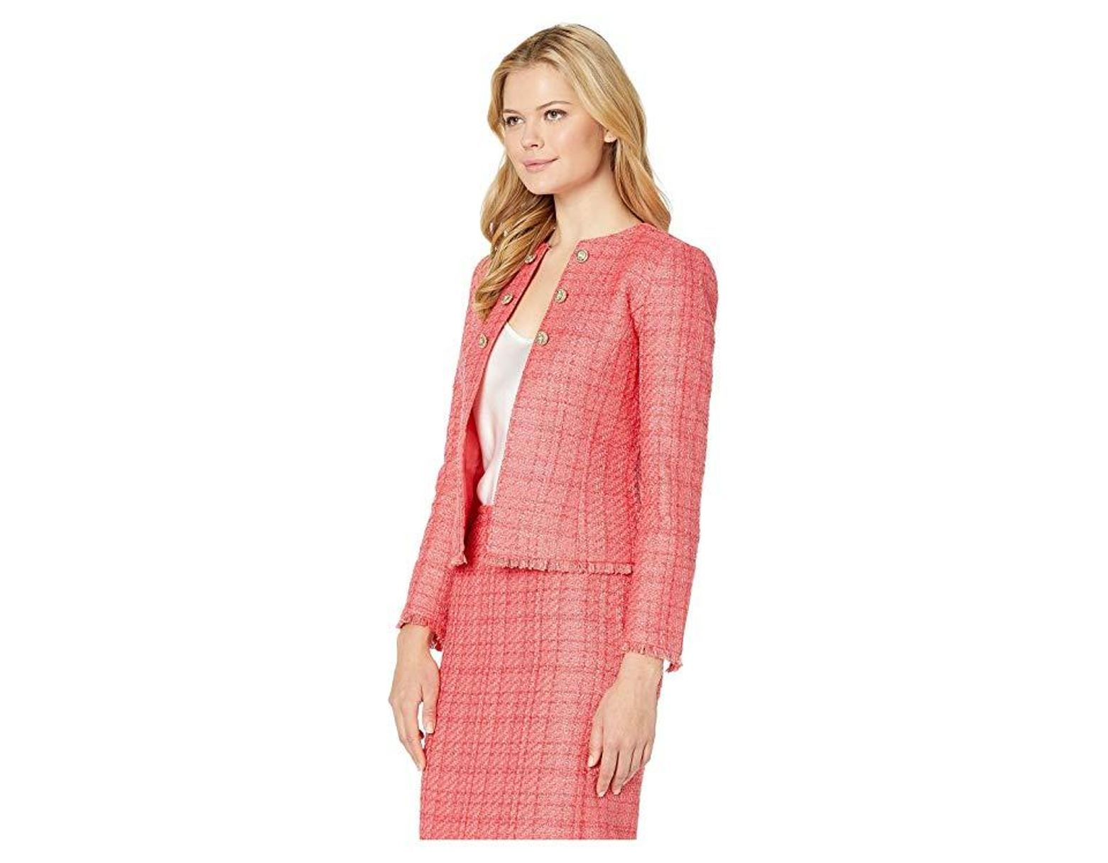 8de9ceb278d5 Tahari Boucle Skirt Suit With Gold Finish Trim (coral) Suits Sets in Pink -  Lyst