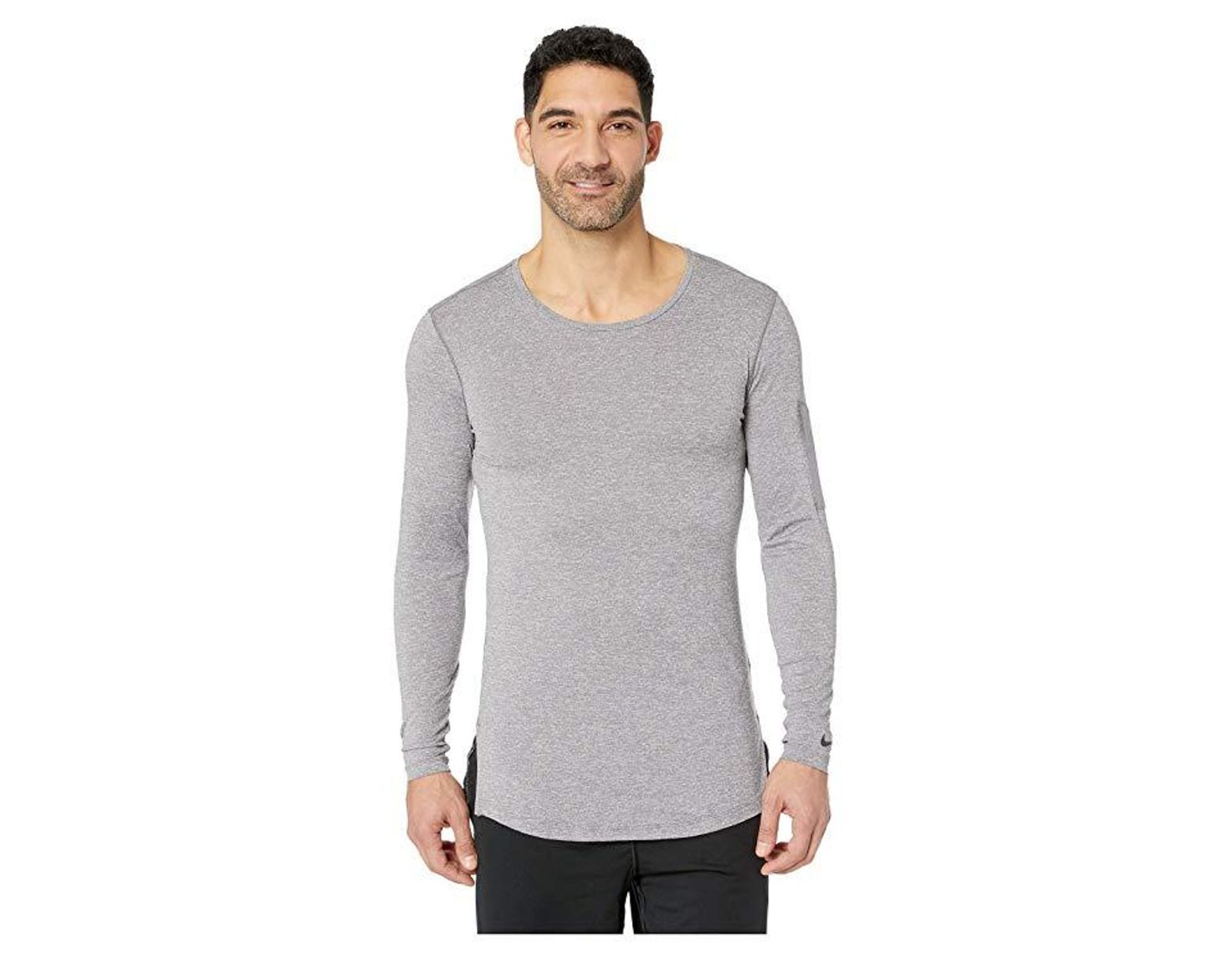614ff715 Nike Top Long Sleeve Fitted Utility (gunsmoke/atmosphere Grey/black)  Clothing in Gray for Men - Lyst