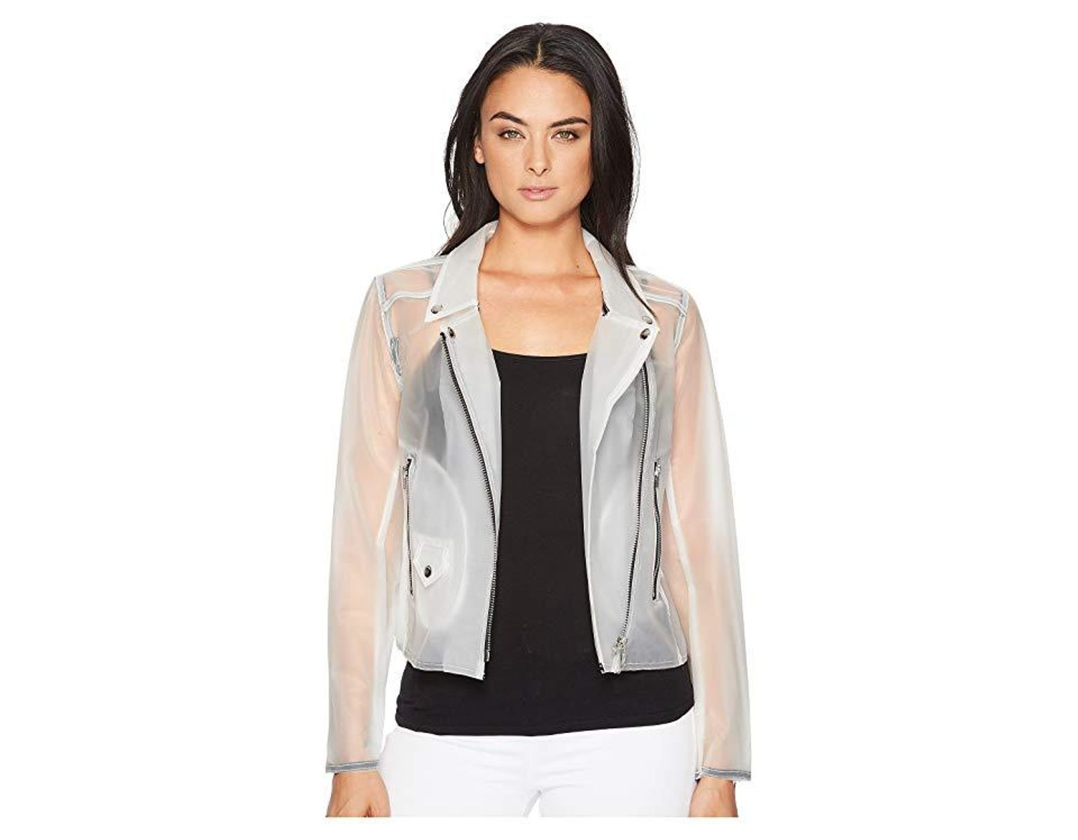 3a4ceef6f1 Blank NYC Frosted Plastic Moto In Frosted White (frosted White) Coat in  White - Save 26% - Lyst