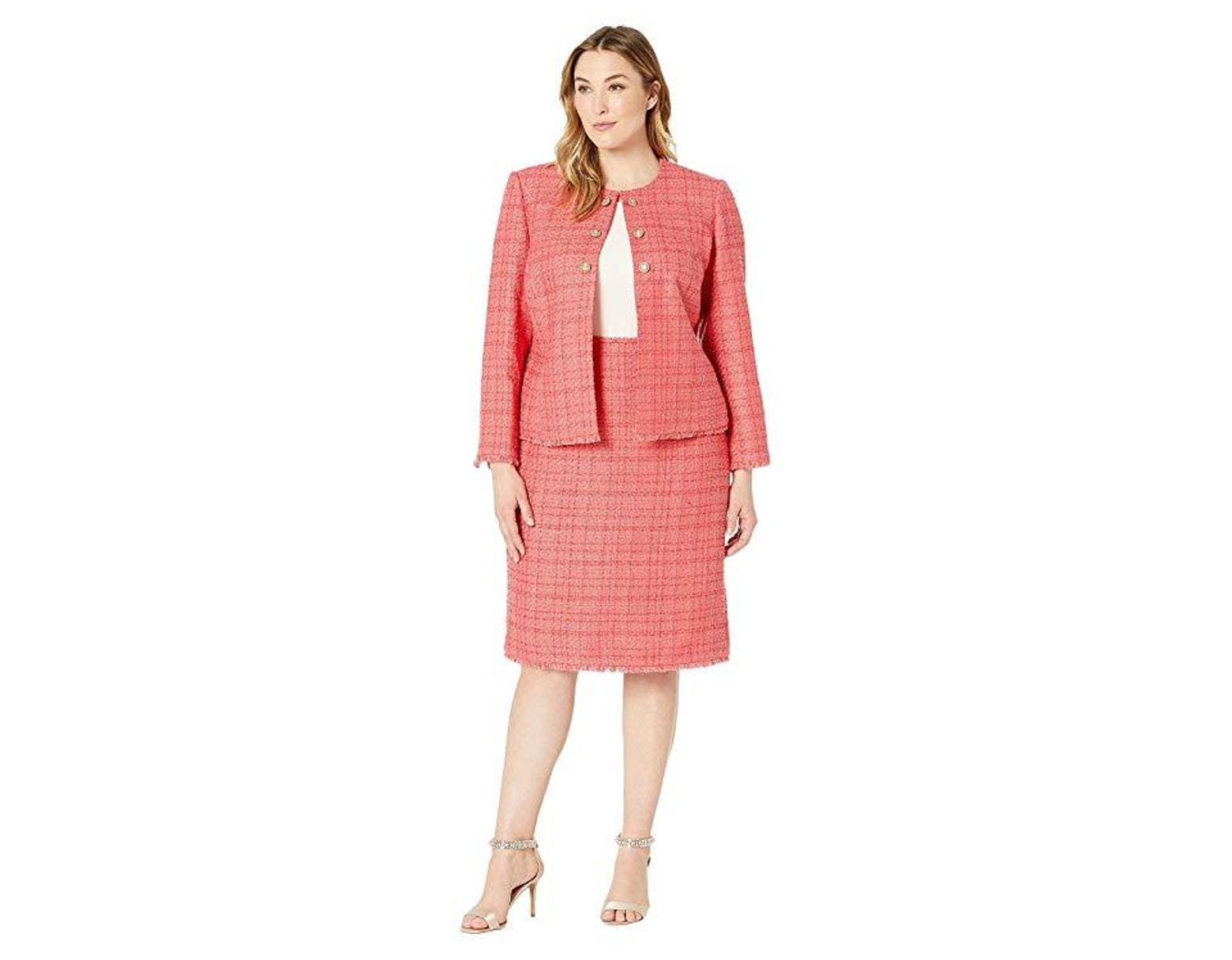 Tahari Plus Size Boucle Skirt Suit With Gold Finish Trim (coral ...