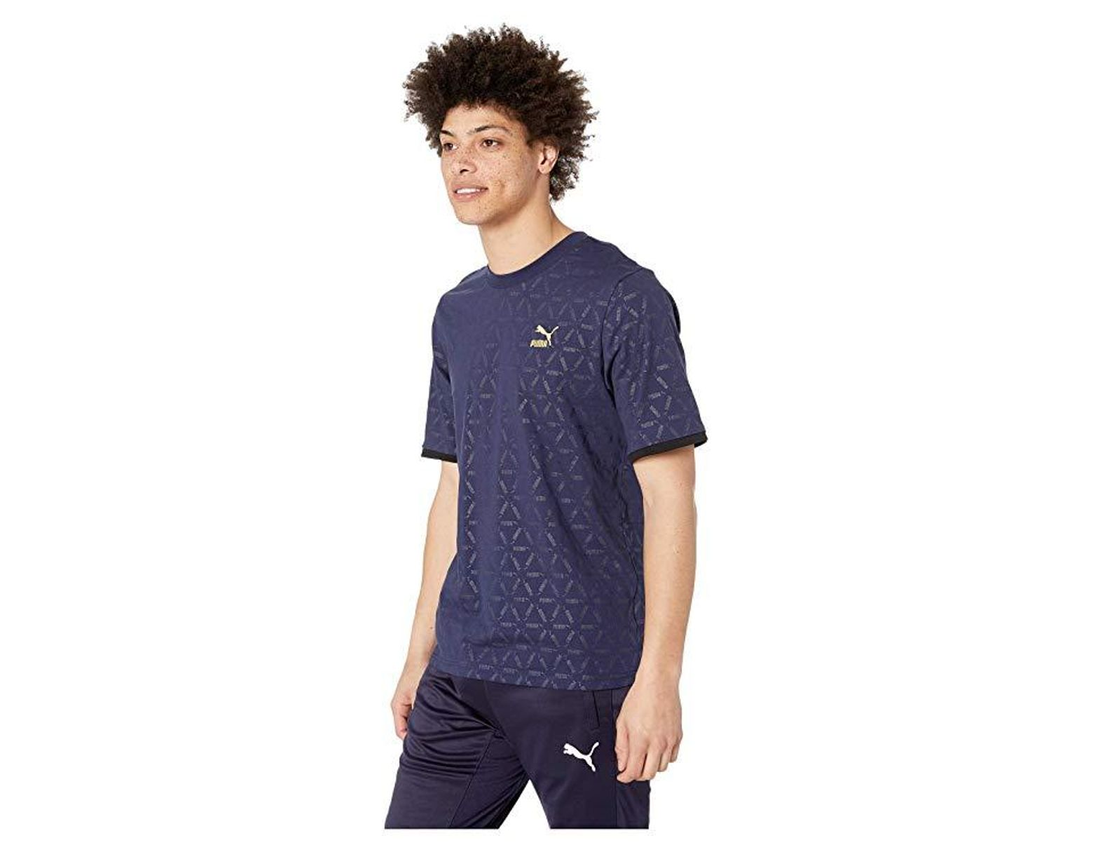 1d63143f2ce PUMA Luxe Pack Tape Tee Aop (peacoat) T Shirt in Blue for Men - Lyst