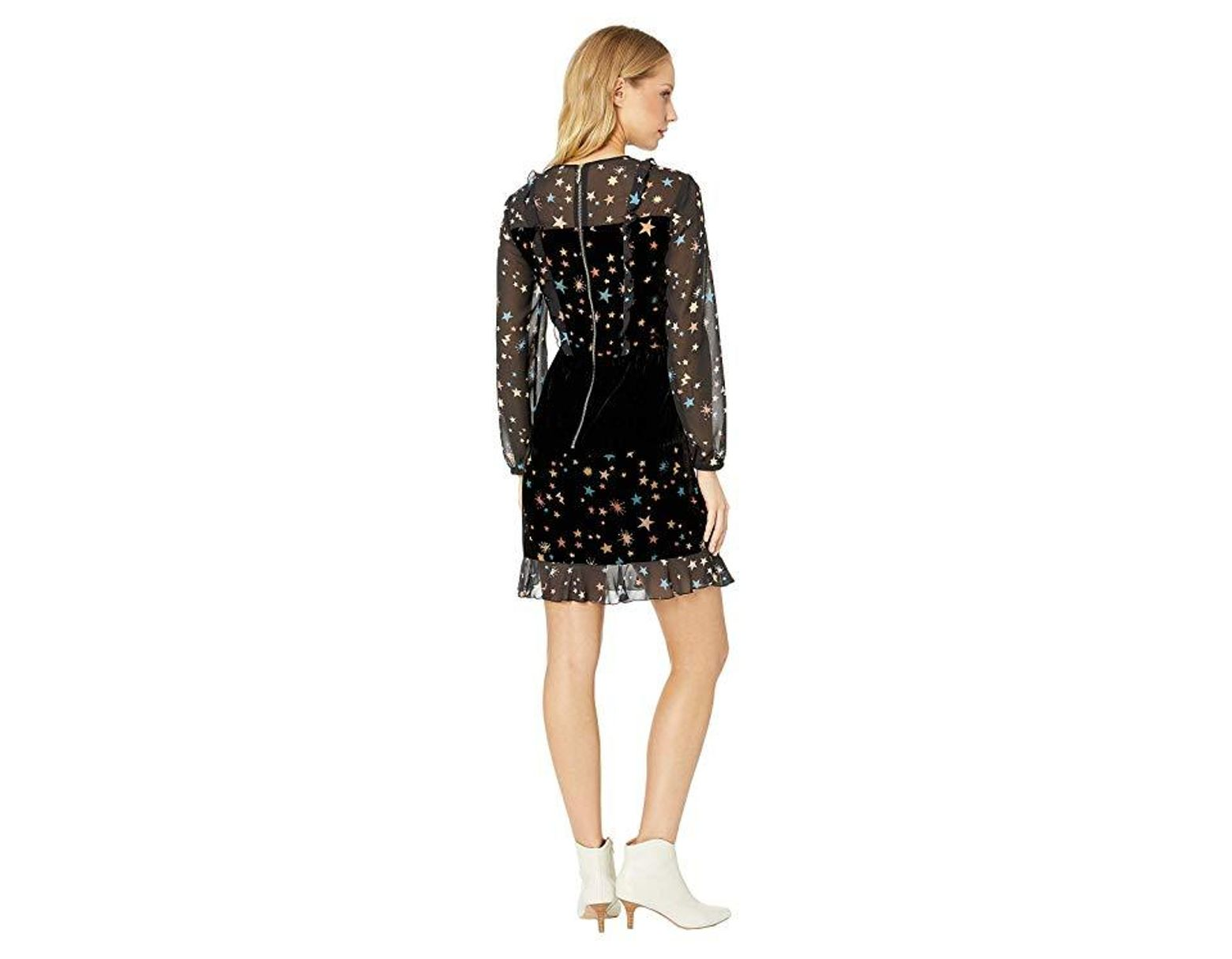 b7bab33ed1e Ted Baker Colour By Numbers Mirres Long Sleeve Devore Star Dress (black)  Dress in Black - Save 70% - Lyst