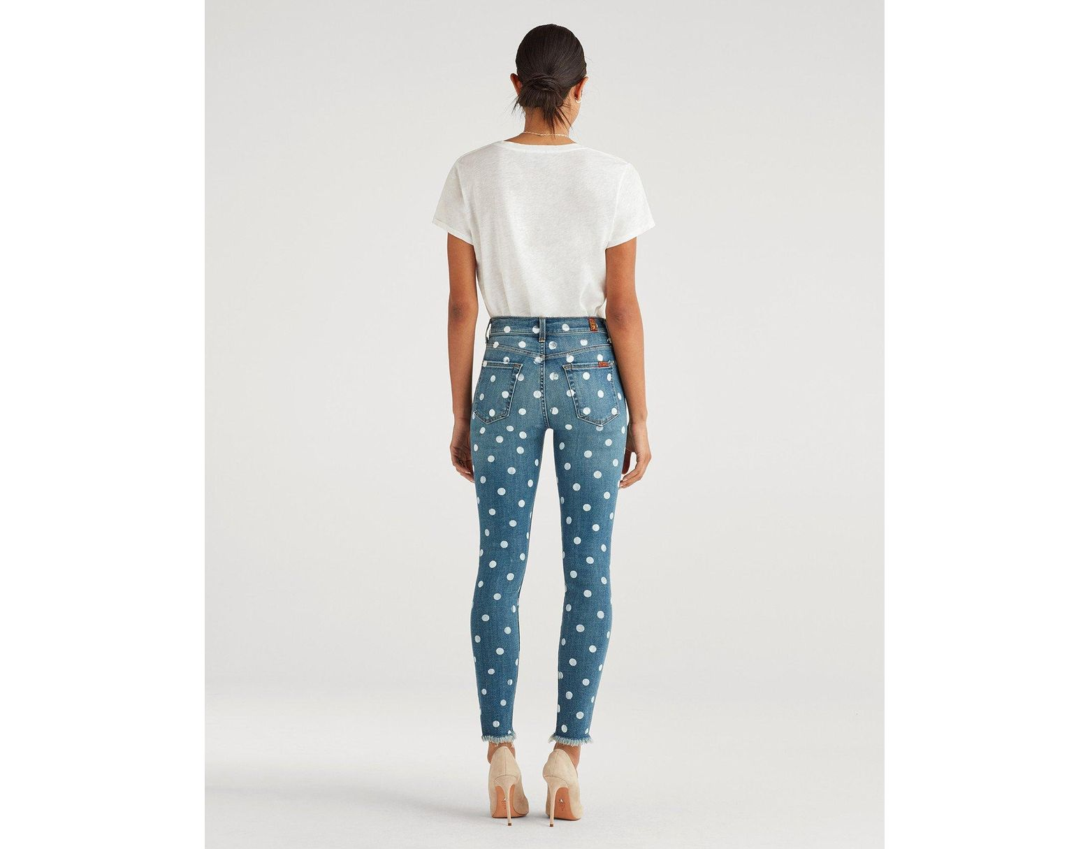 ec7491b6ec 7 For All Mankind High Waist Ankle Skinny With Frayed Hem And Dot Stamp In  Ridgemont Vintage in Blue - Lyst