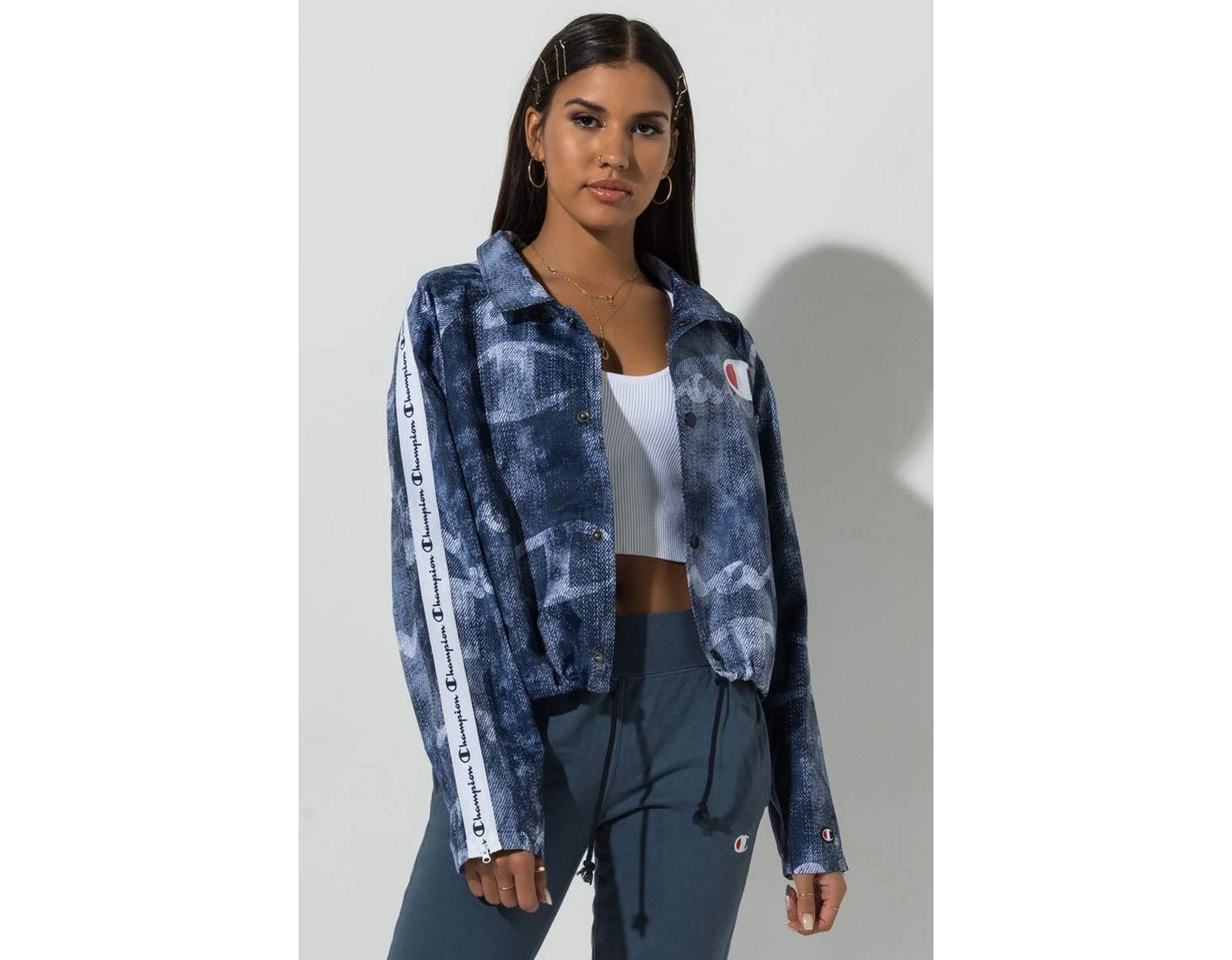 7a065ec97 Women's Blue Life® Zipper Tape Cropped Coaches Print Jacket, C Logo