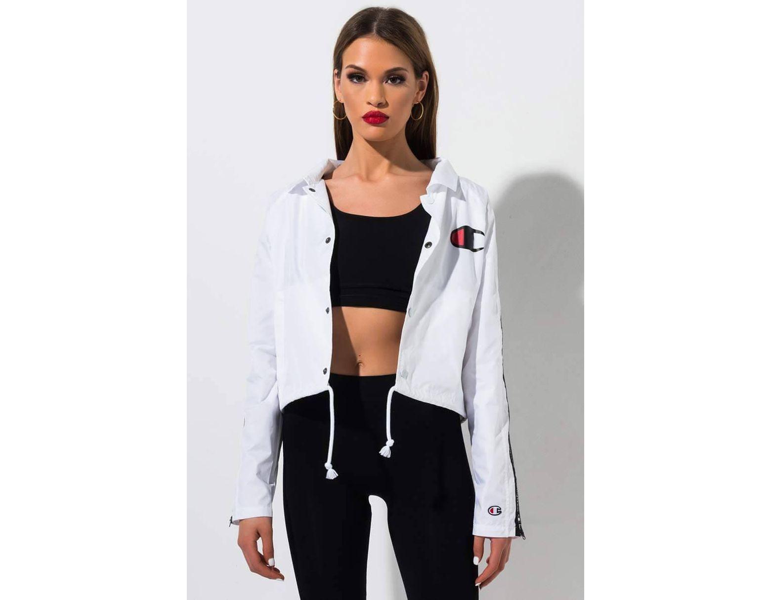 2ccfc913a Women's White Zipper Tape Cropped Coaches Jacket
