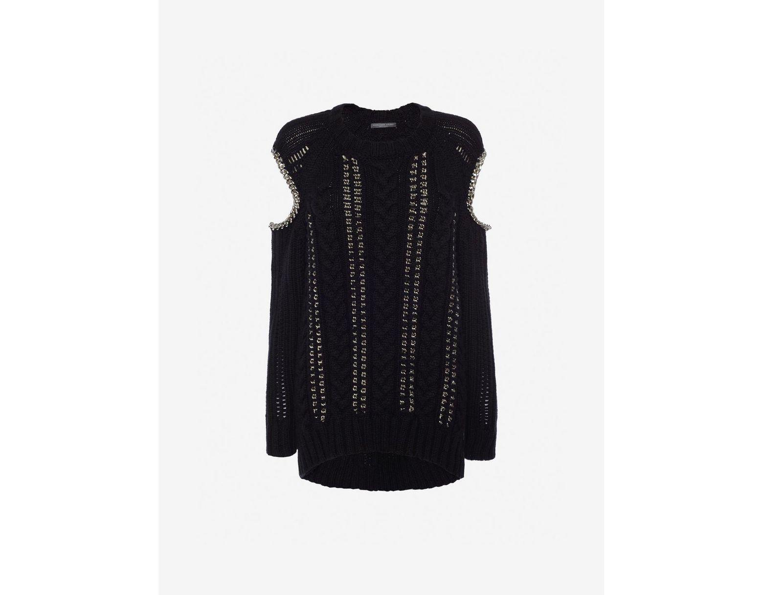 e7e29cd87c5 Women's Black Chain Knit Sweater