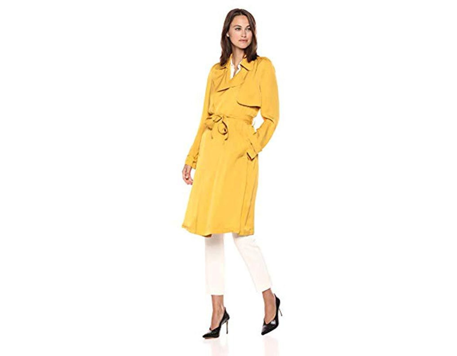 d89e59be73993 Women's Yellow Belted Oaklane Trench Coat