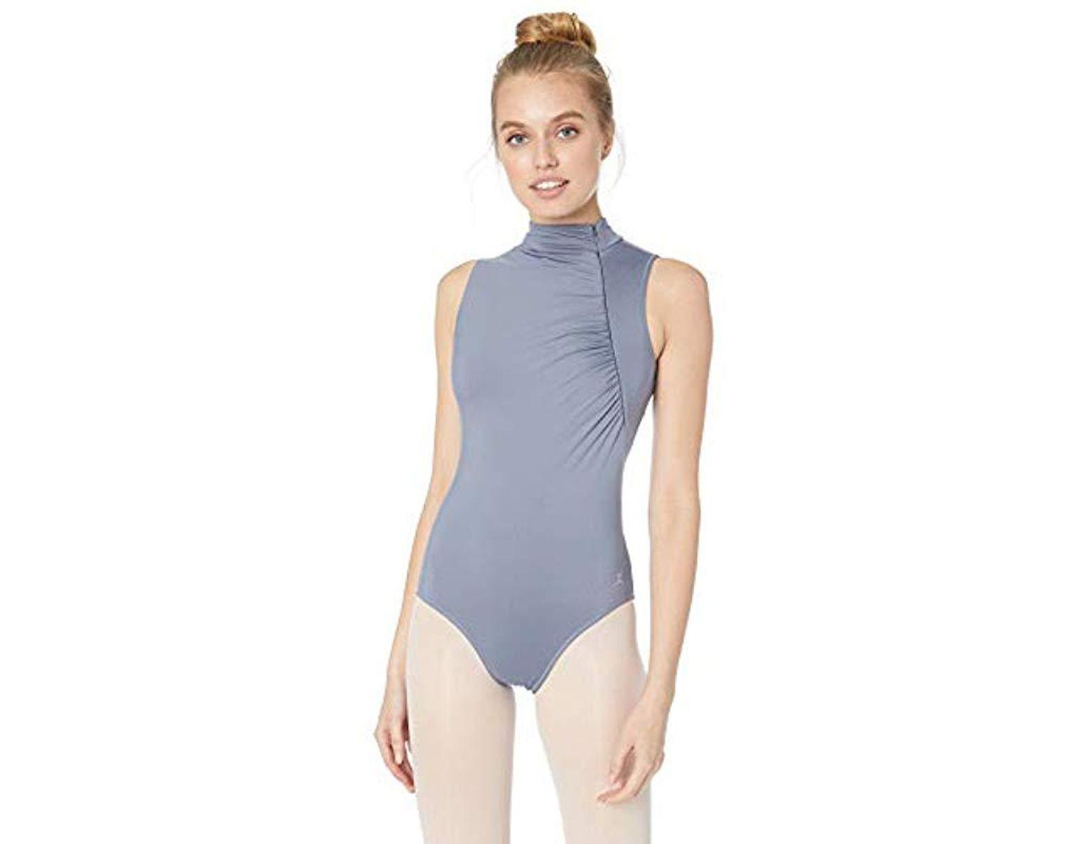 a10a847523387 Women's Gray Zipper Neck Leotard