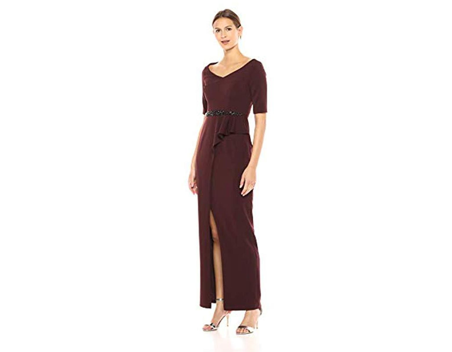e75ab7e67e3 Adrianna Papell. Women s Purple Elbow Sleeve Beaded Waistline Long Stretch  Ottoman Dress