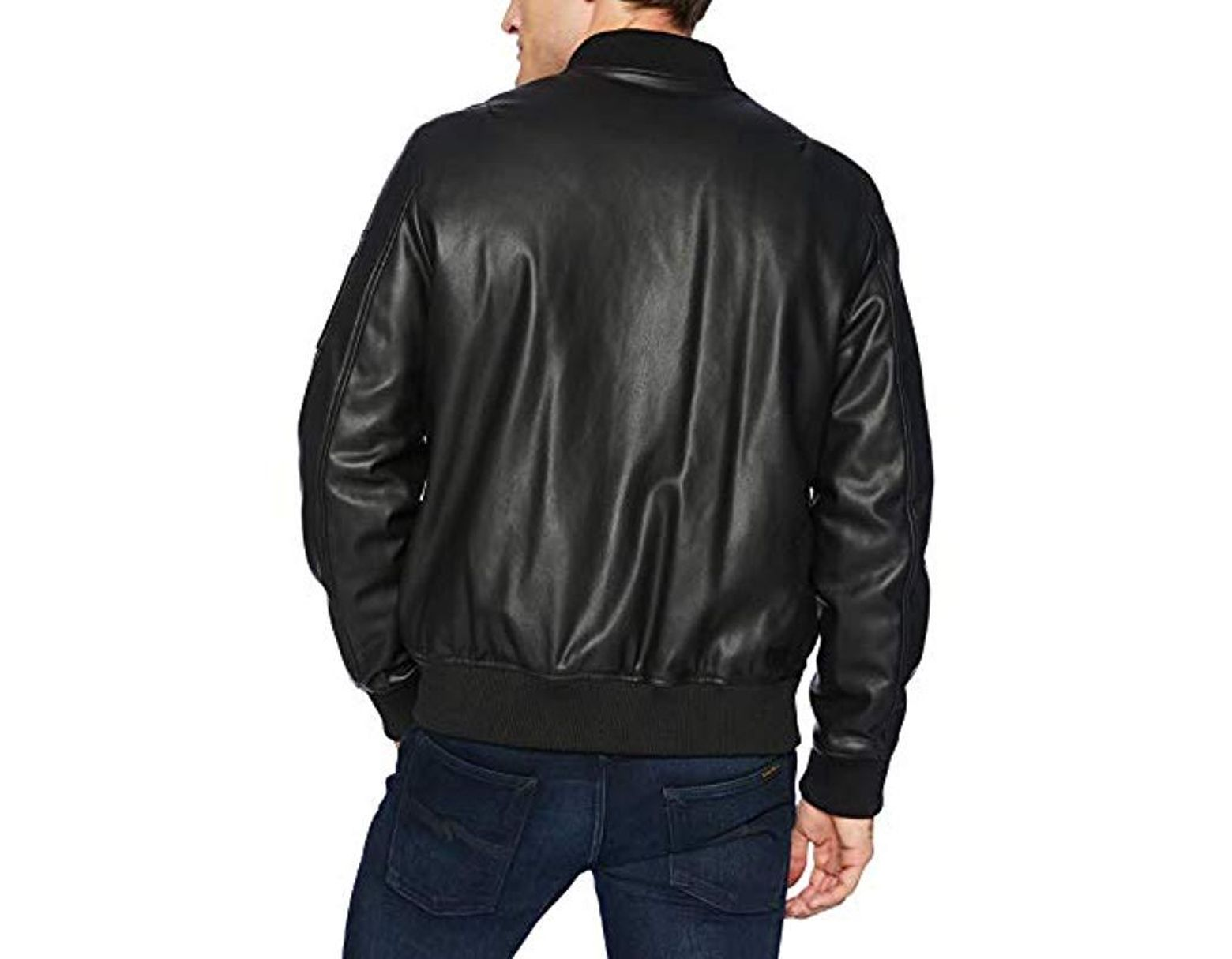 750c046c3 Men's Black Faux Leather Bomber With Patches