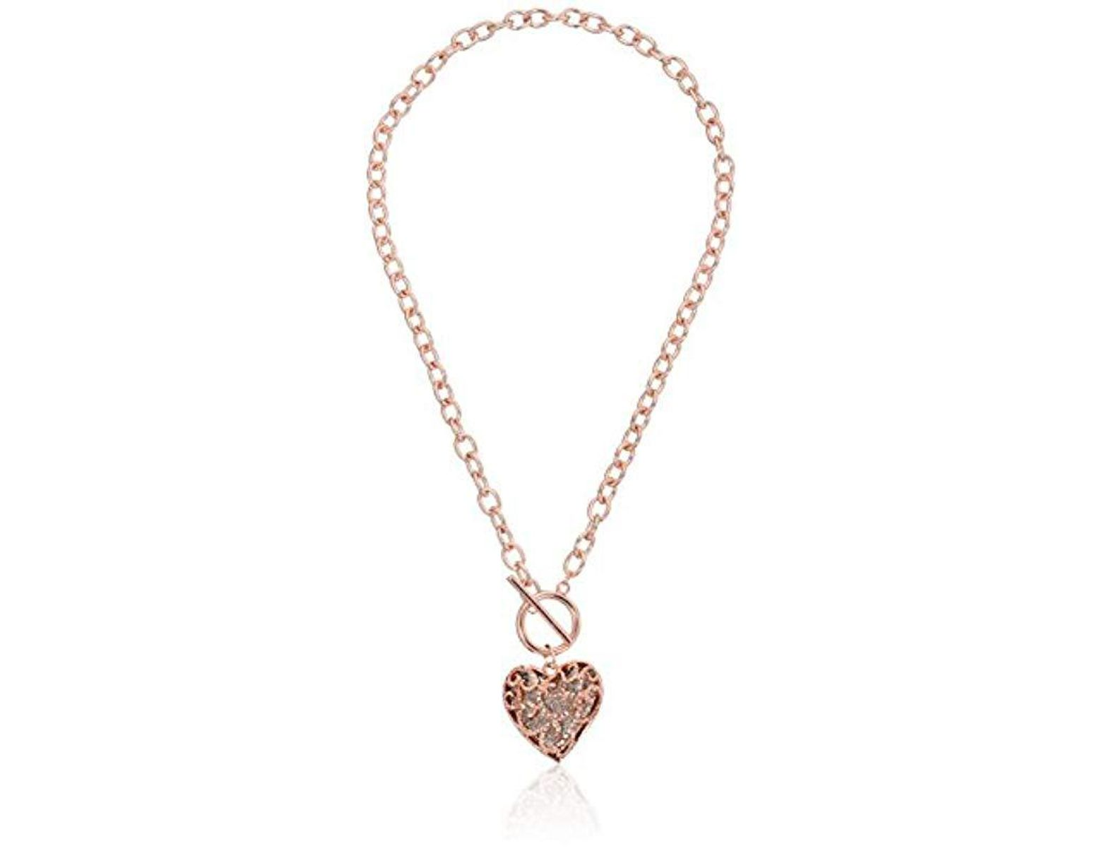 3cd68500fc94a Women's Metallic S Swirl Pave Heart Toggle Pendant Necklace