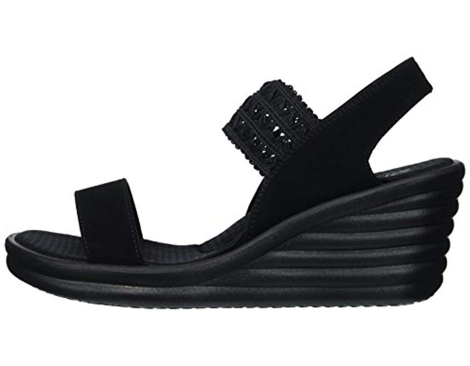 bf356b08e2 Skechers Rumbler Wave-drama Diva Wedge Sandal in Black - Lyst