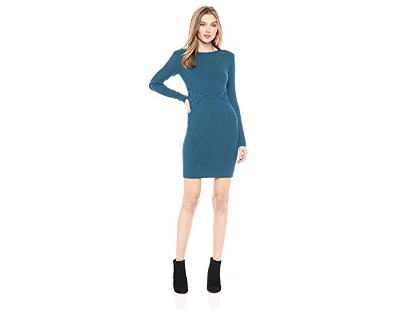 170c197dae40 Guess Long Sleeve Reversible Zip Front Dress in Blue - Save 19% - Lyst