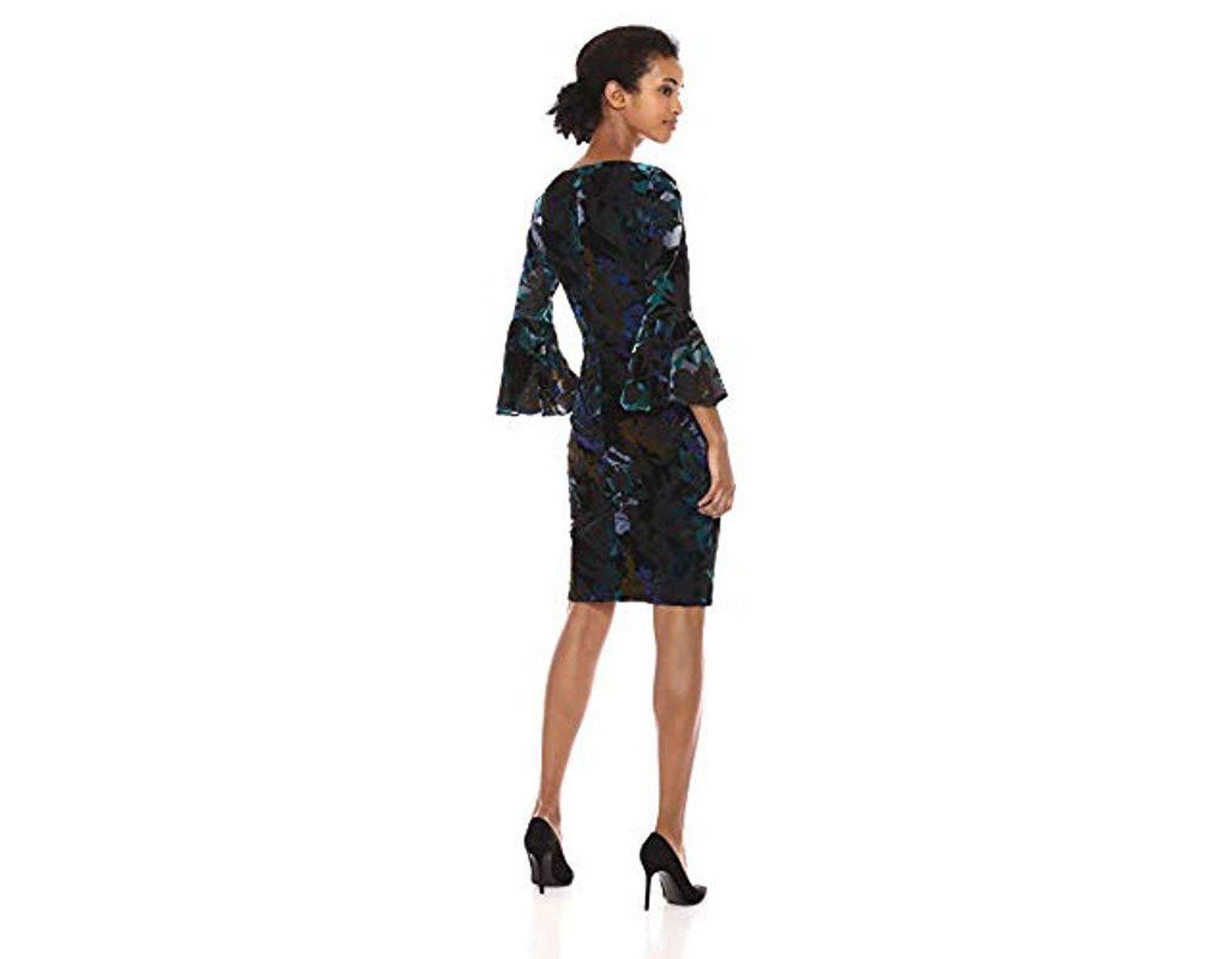 63cb79ed Calvin Klein Bell Sleeve Velvet Sheath Cd7v133e in Black - Save 78% - Lyst