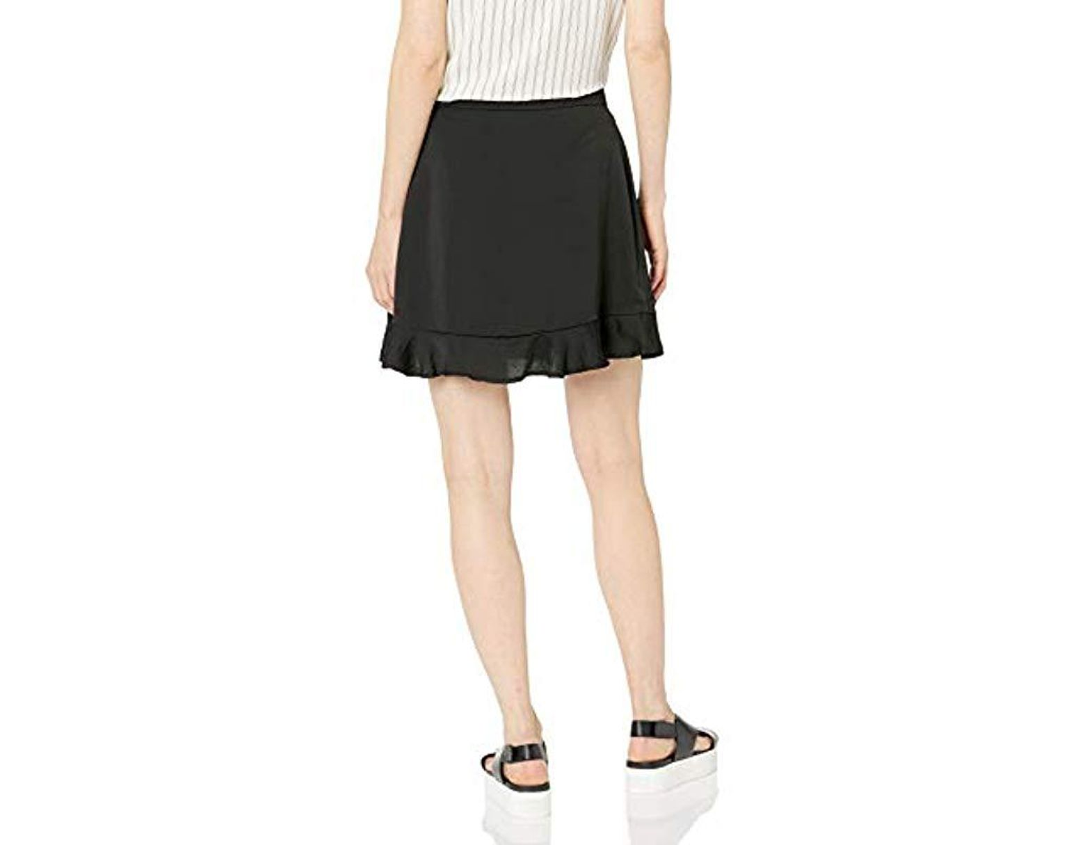 fbd6ca77bf Cupcakes And Cashmere Zeke Satin Flounce Skirt in Black - Lyst
