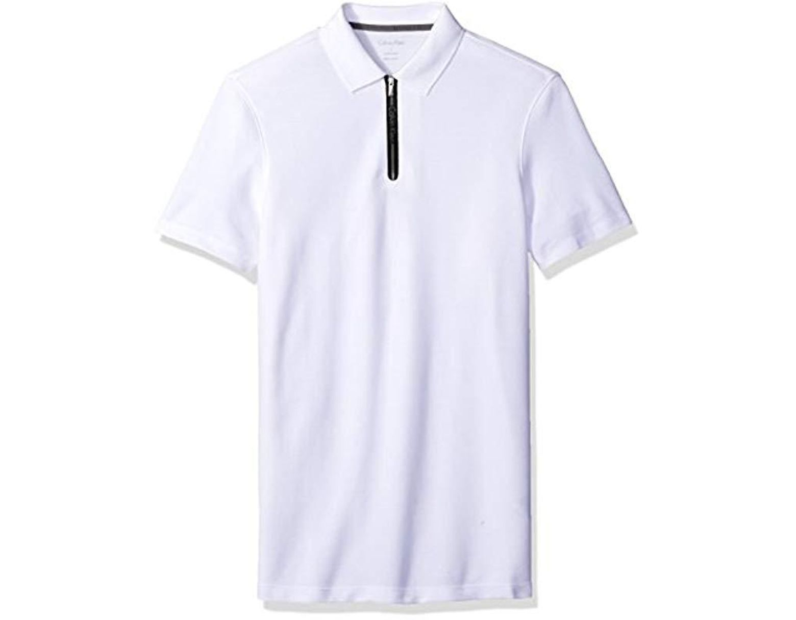 4318922d04a Calvin Klein Short Sleeve Two Tone Pique Polo Shirt in White for Men - Lyst