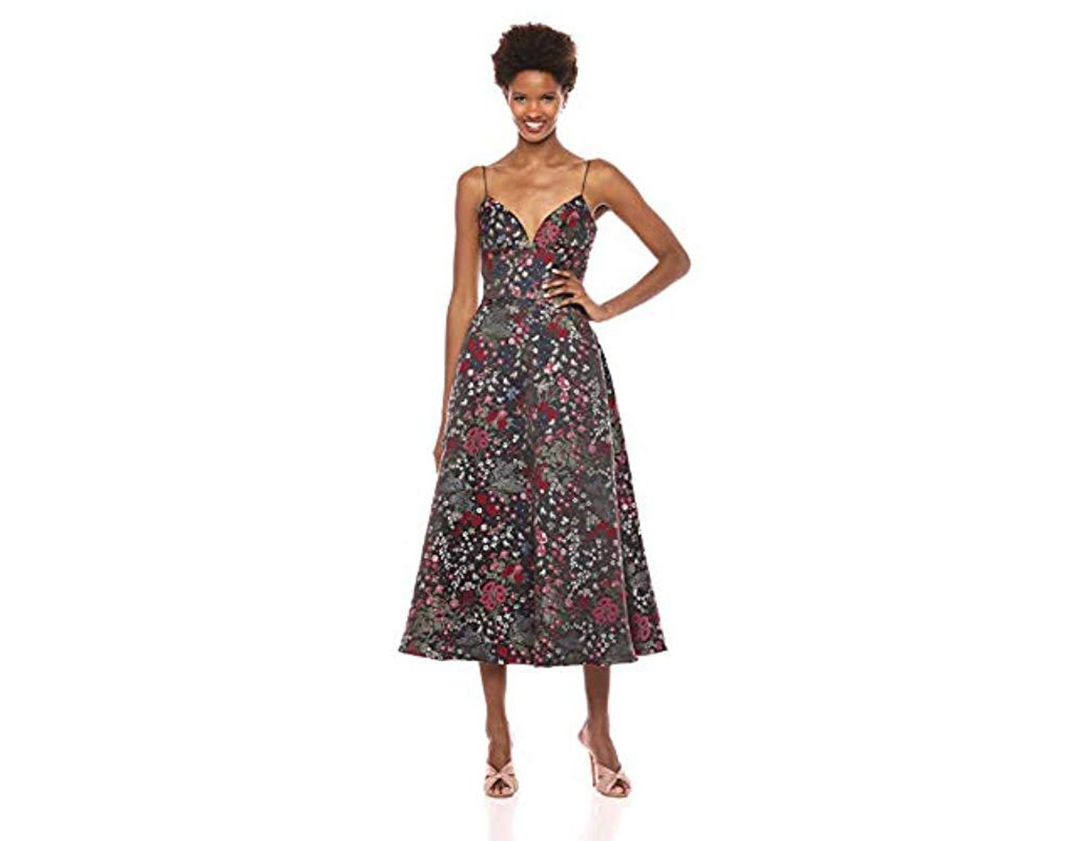 2b55bb26bed ML Monique Lhuillier Midi Length Jacquard Cocktail Dress - Lyst