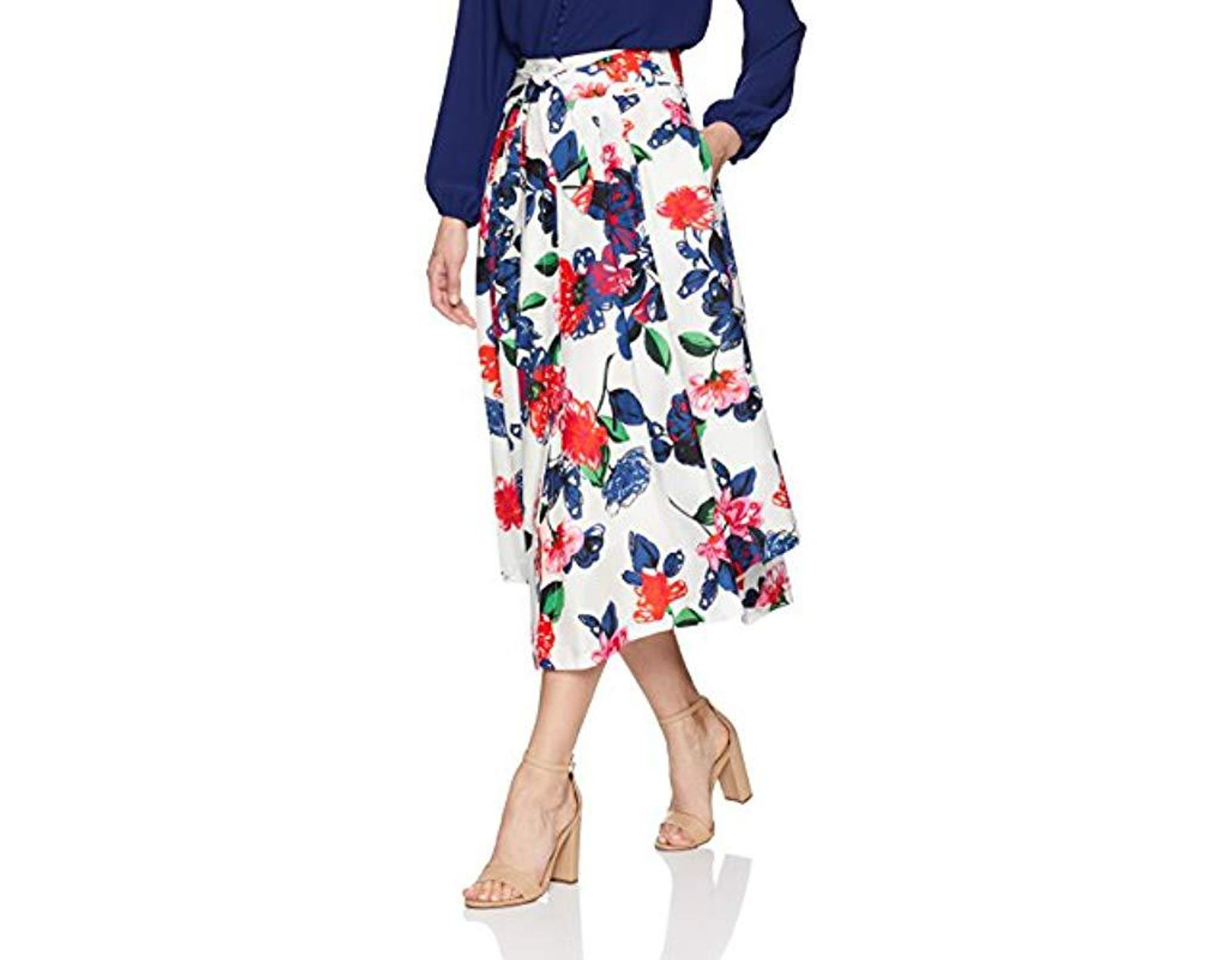 8fcef535b8 MILLY Floral Print On Cotton Fiona Midi Skirt With Front Buttons in Blue -  Lyst